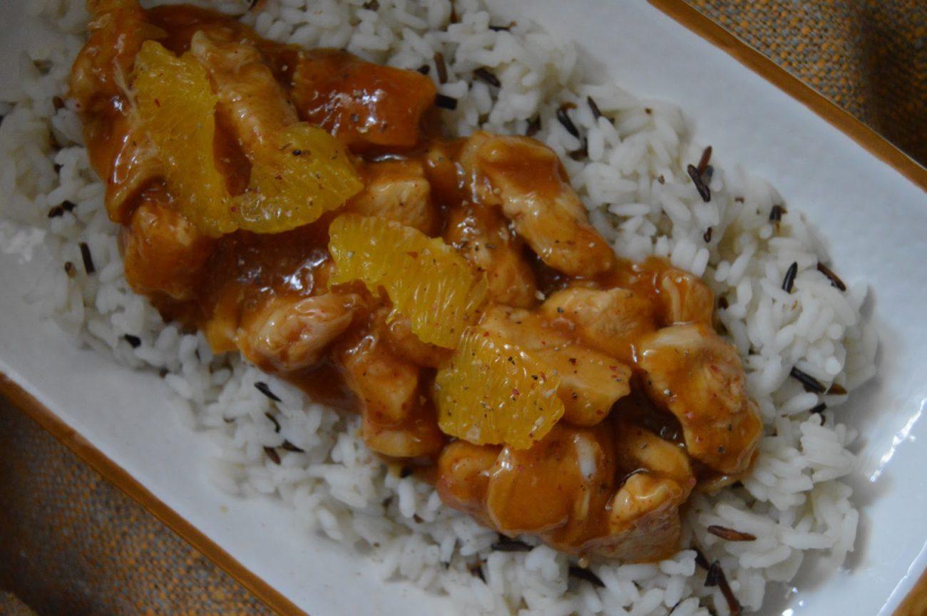 Пиле с портокали и сос от нар