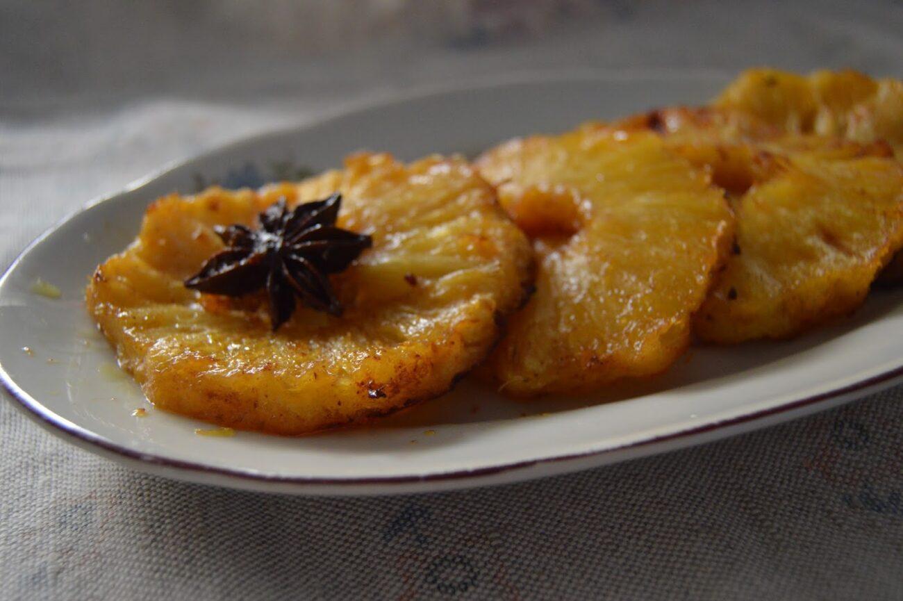 Печен ананас с подправки и масло